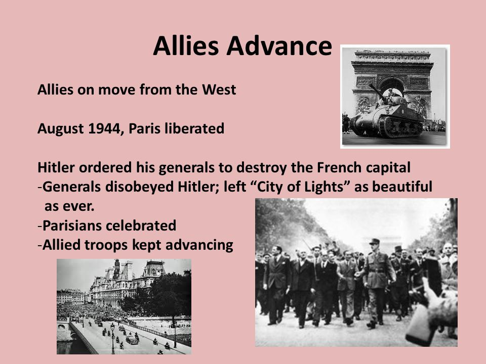 Allies Advance Allies on move from the West