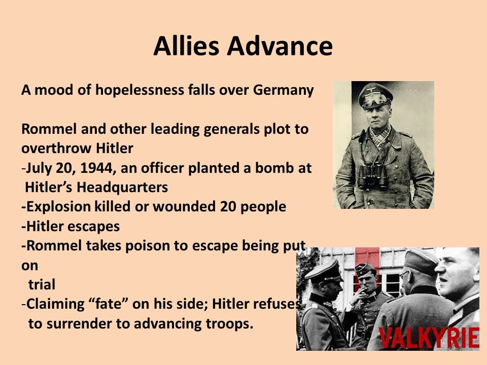 Allies Advance A mood of hopelessness falls over Germany