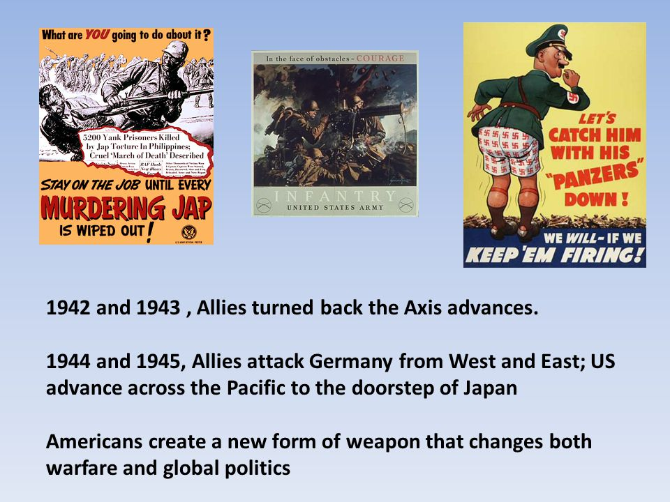1942 and 1943 , Allies turned back the Axis advances.