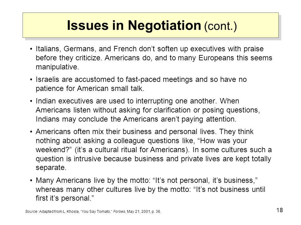 Issues in Negotiation (cont.)