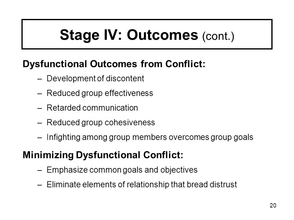 Stage IV: Outcomes (cont.)