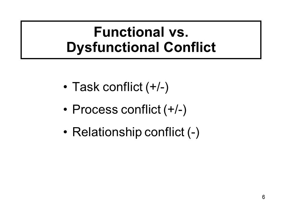 Functional vs. Dysfunctional Conflict
