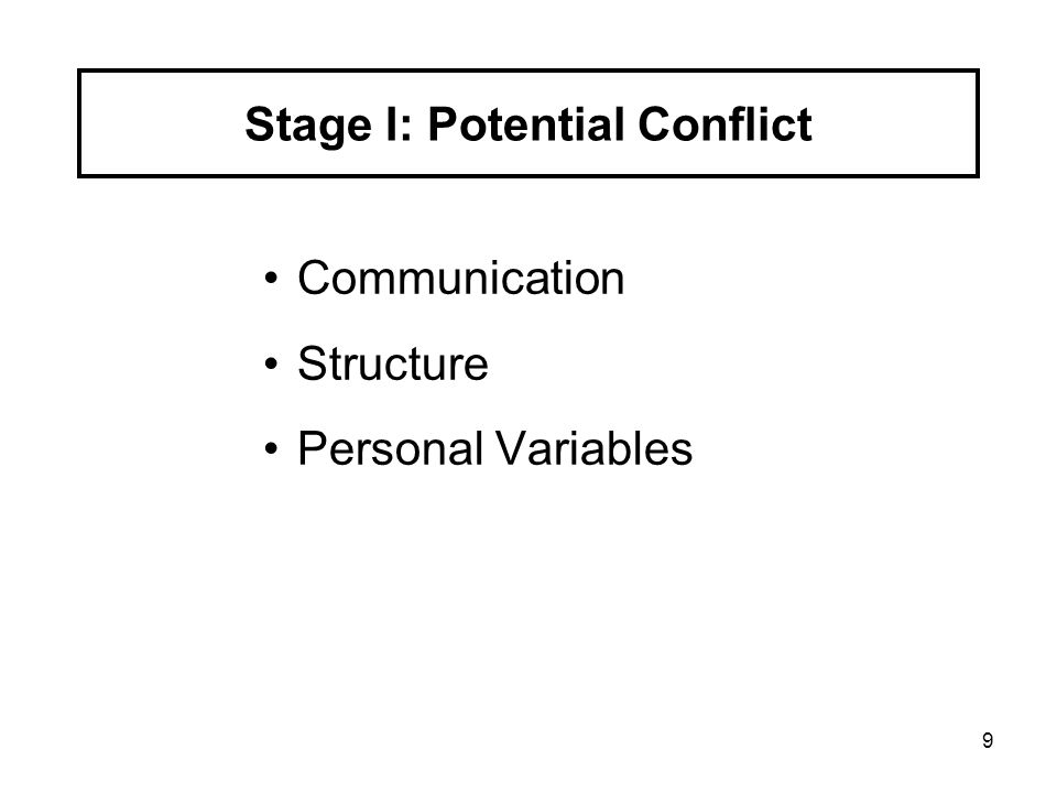 Stage I: Potential Conflict