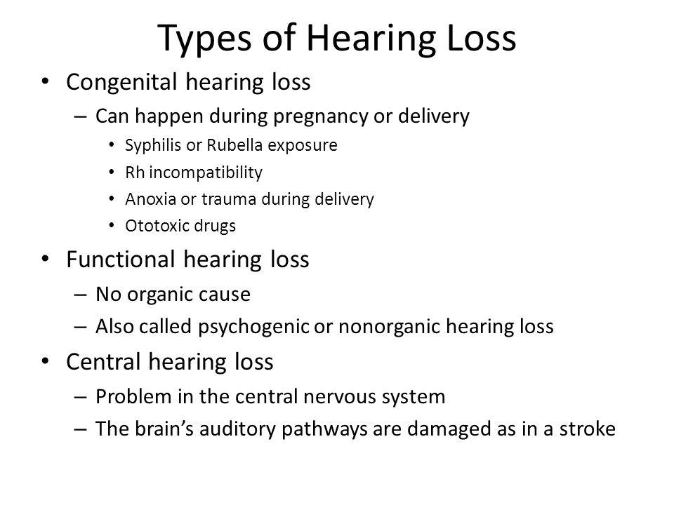 Types of Hearing Loss Congenital hearing loss Functional hearing loss