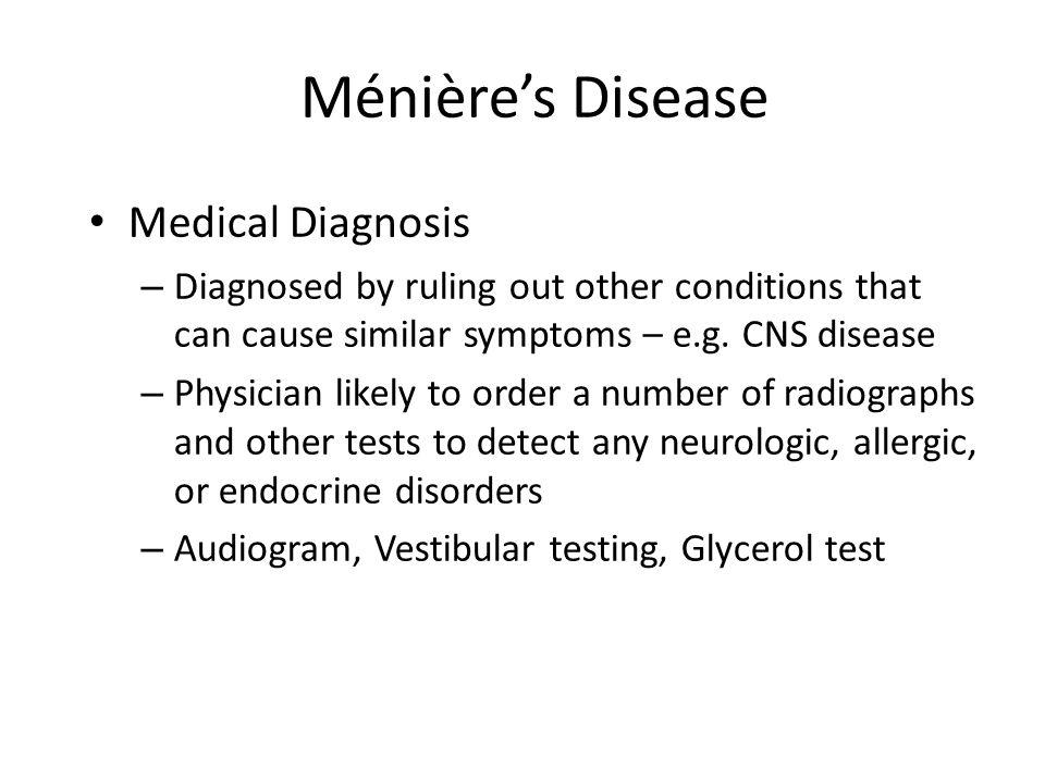 Ménière's Disease Medical Diagnosis