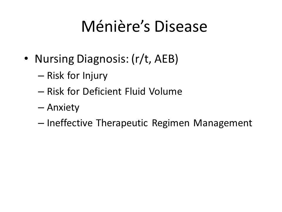 Ménière's Disease Nursing Diagnosis: (r/t, AEB) Risk for Injury
