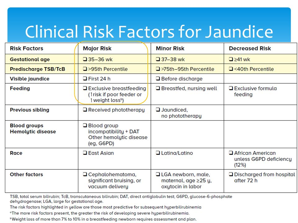 Clinical Risk Factors for Jaundice