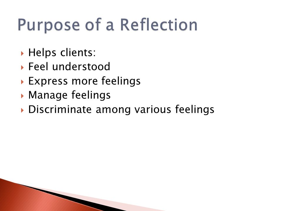 Purpose of a Reflection