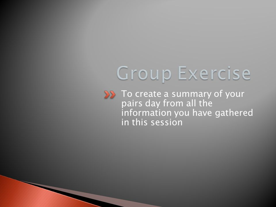 Group Exercise To create a summary of your pairs day from all the information you have gathered in this session.