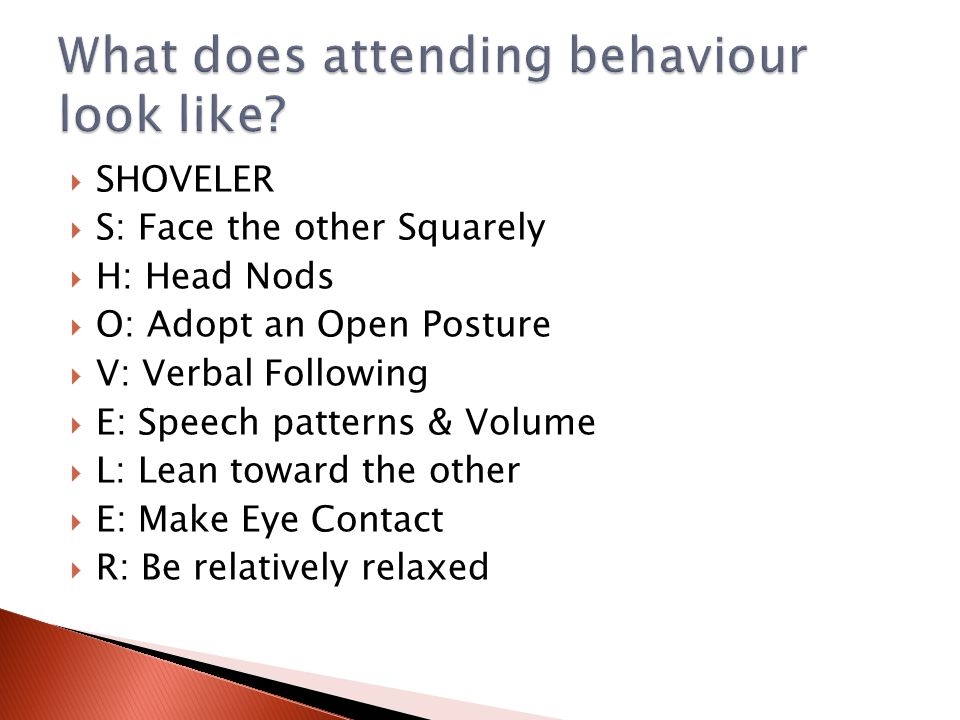 What does attending behaviour look like