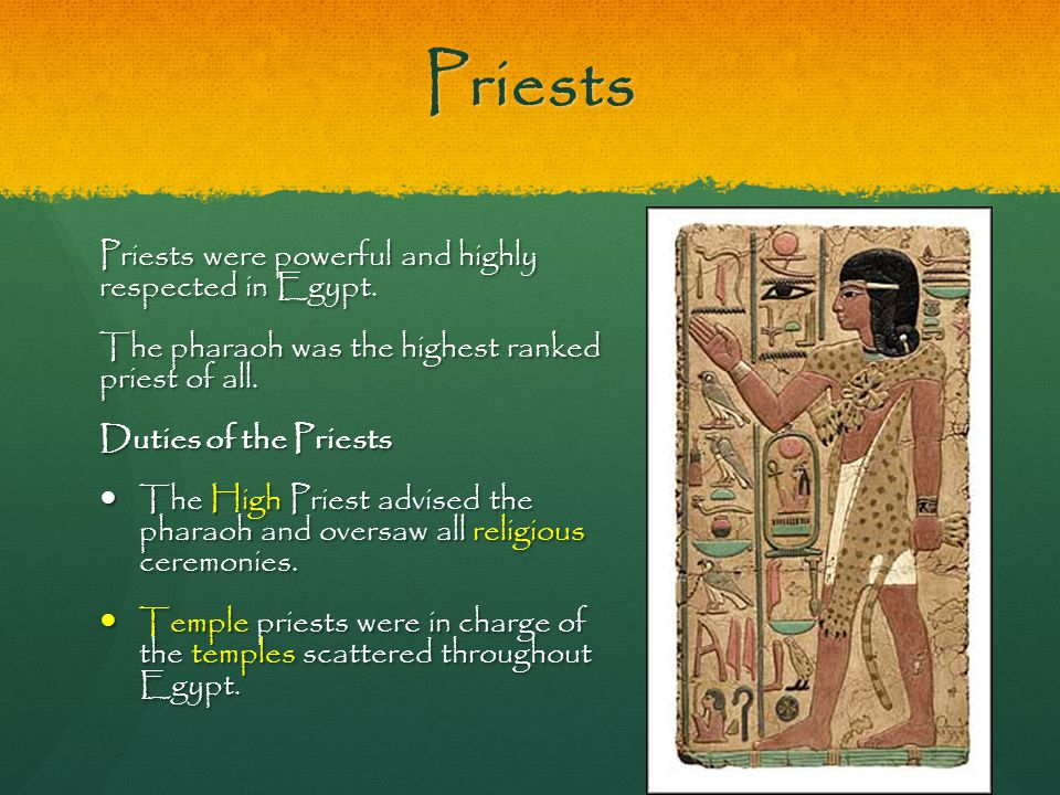 Priests Priests were powerful and highly respected in Egypt.