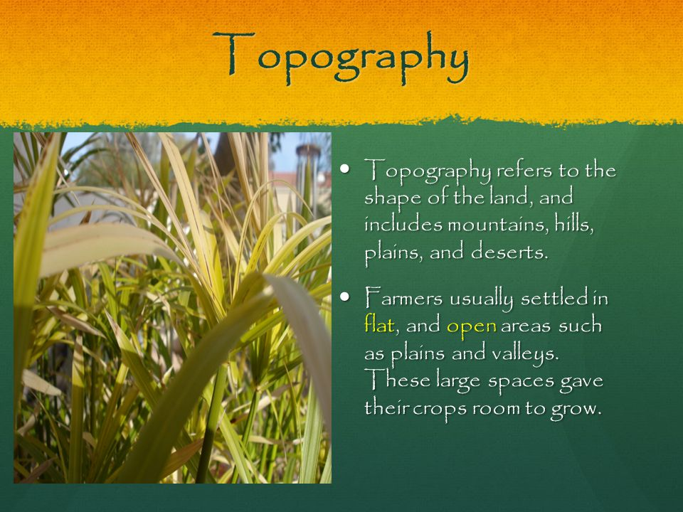 Topography Topography refers to the shape of the land, and includes mountains, hills, plains, and deserts.