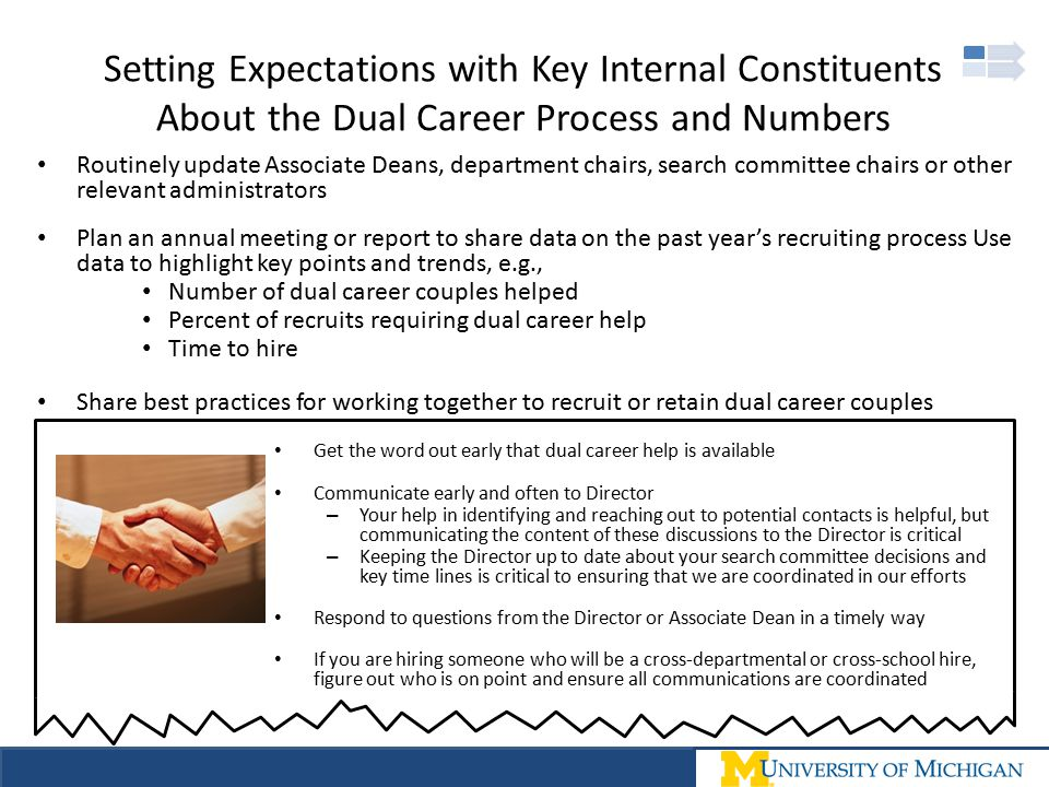 Setting Expectations with Key Internal Constituents About the Dual Career Process and Numbers