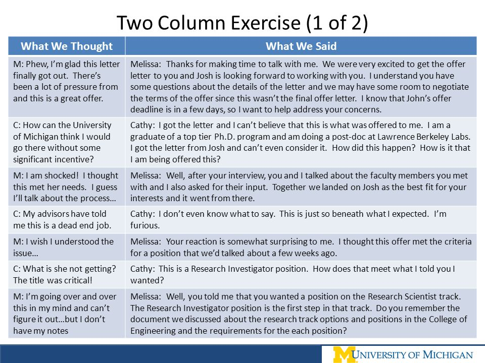 Two Column Exercise (1 of 2)