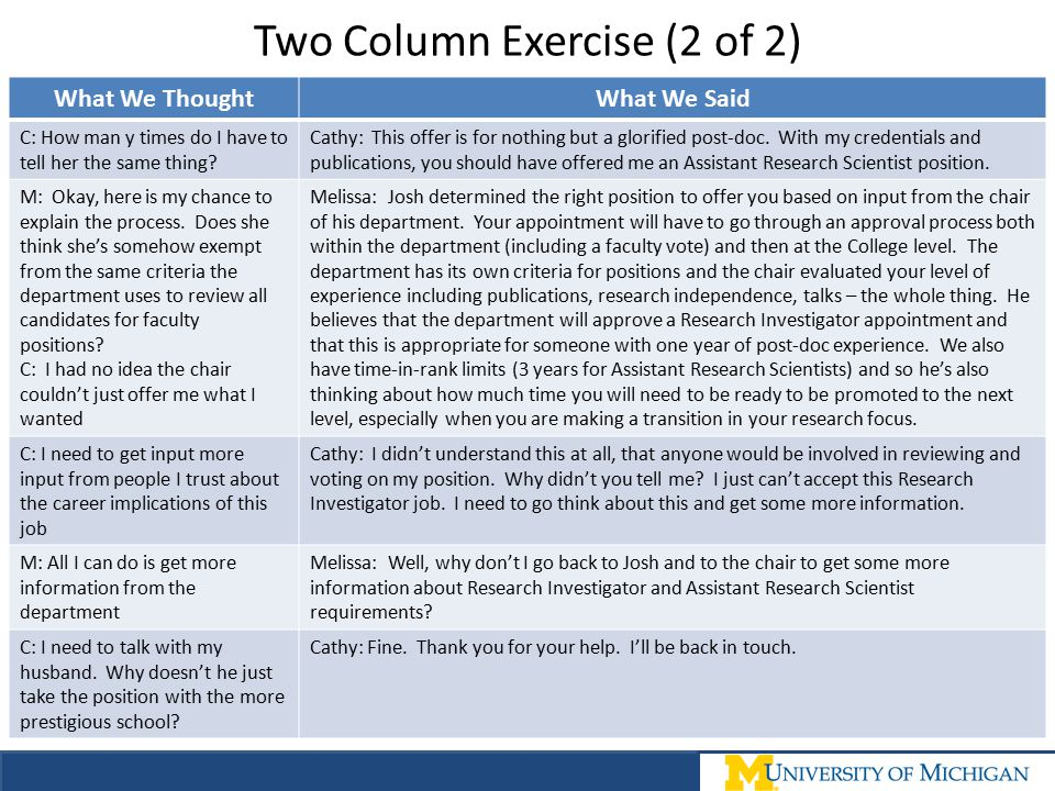 Two Column Exercise (2 of 2)
