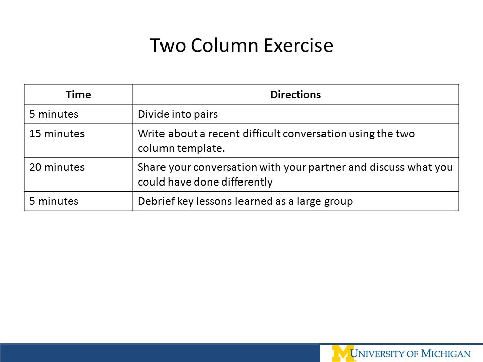 Two Column Exercise Time Directions 5 minutes Divide into pairs
