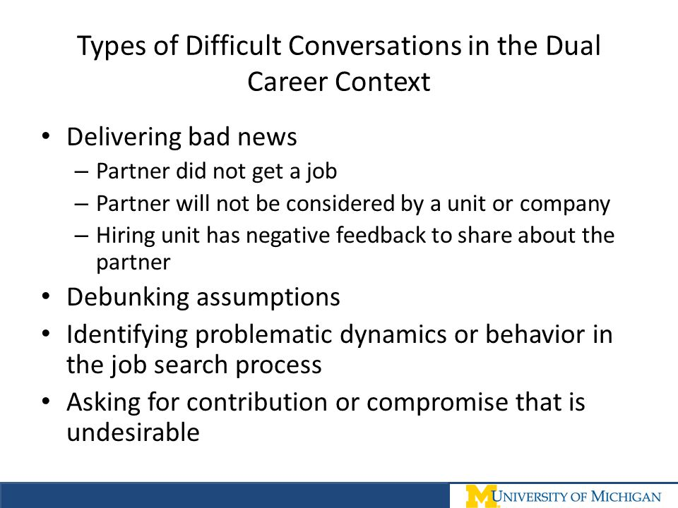 Types of Difficult Conversations in the Dual Career Context