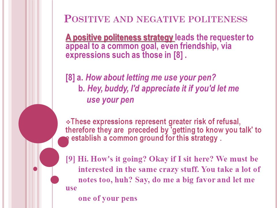 Positive and negative politeness