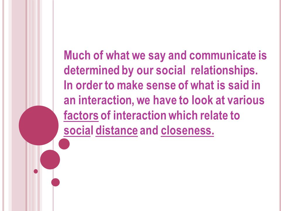 Much of what we say and communicate is determined by our social relationships.