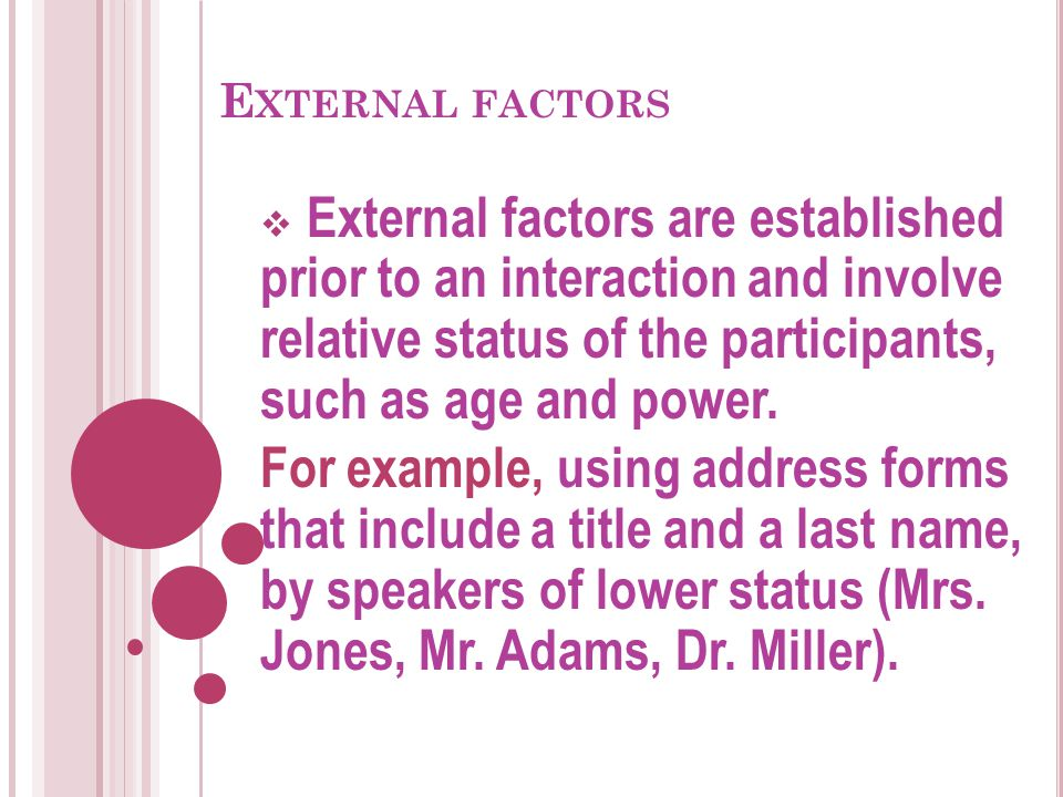External factors External factors are established prior to an interaction and involve relative status of the participants, such as age and power.