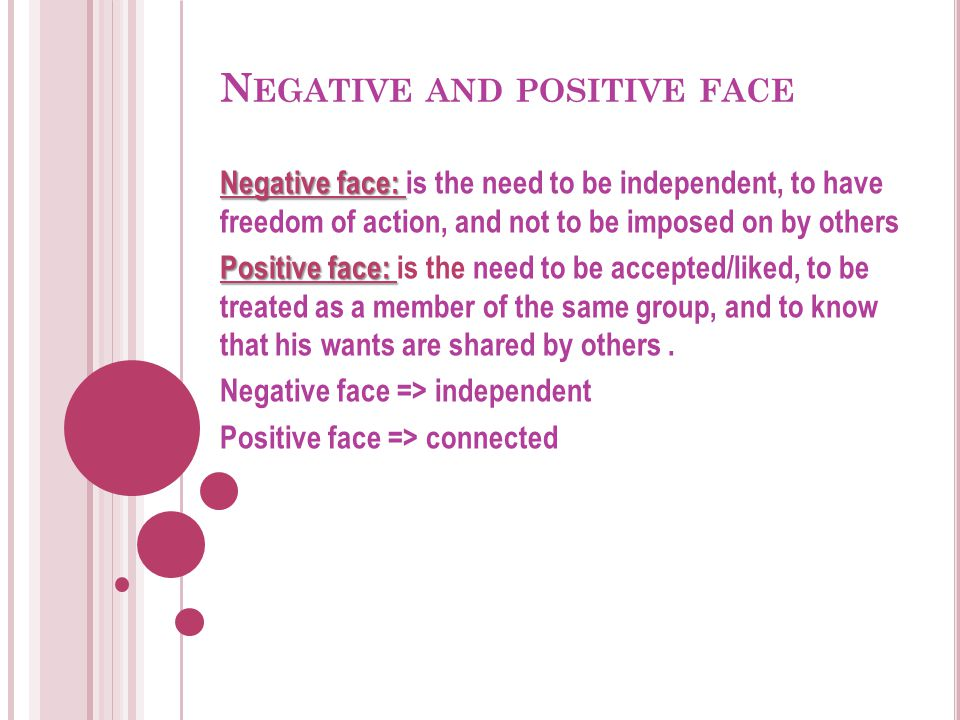 Negative and positive face