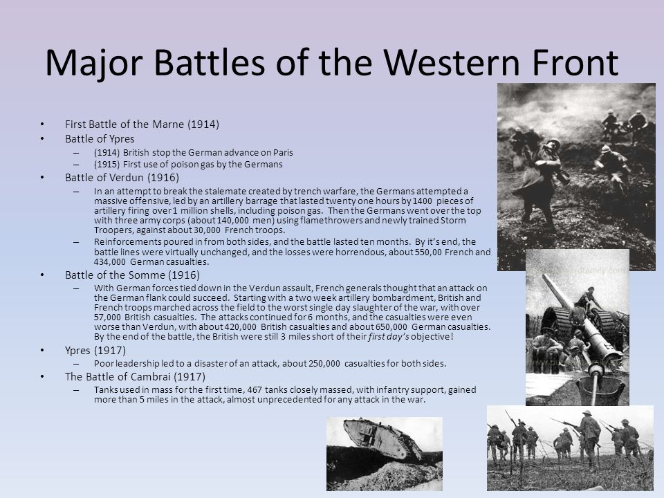 Major Battles of the Western Front