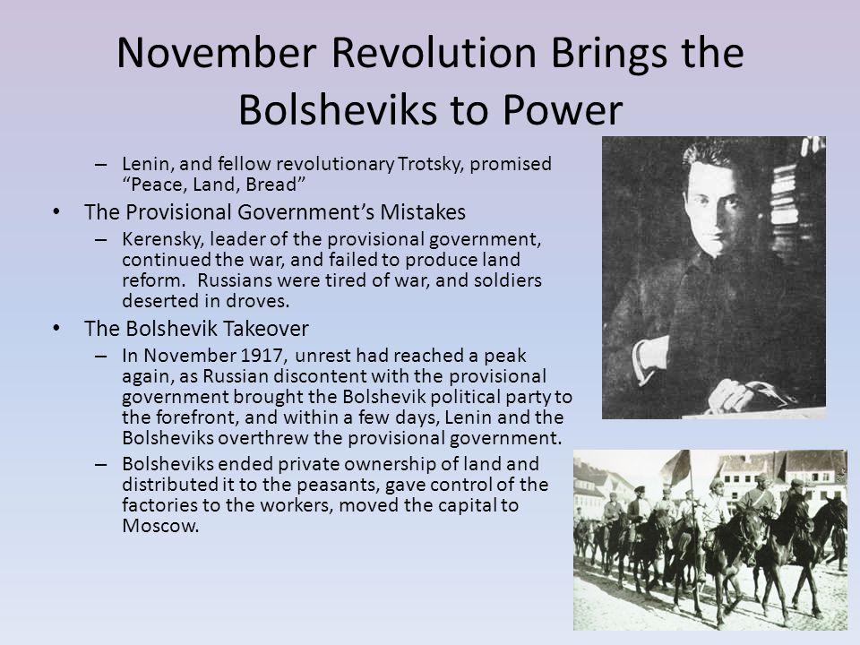 November Revolution Brings the Bolsheviks to Power