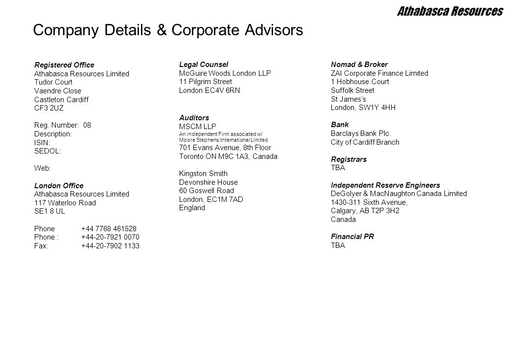 Company Details & Corporate Advisors