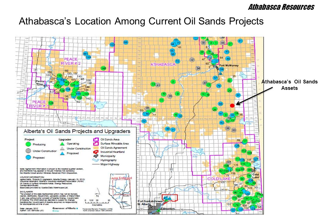 Athabasca's Location Among Current Oil Sands Projects