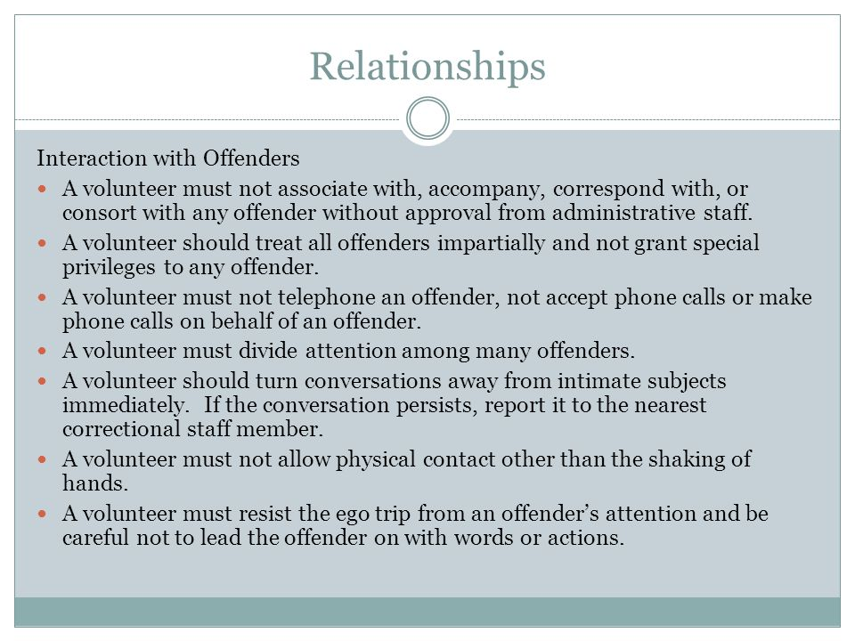 Relationships Interaction with Offenders