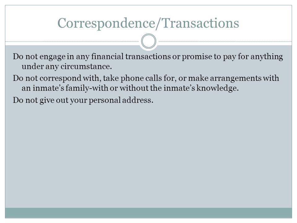 Correspondence/Transactions