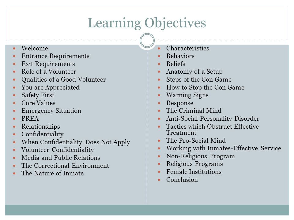 Learning Objectives Welcome Entrance Requirements Exit Requirements