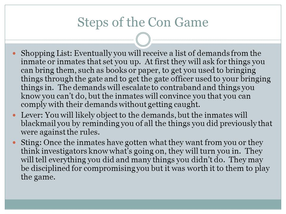 Steps of the Con Game