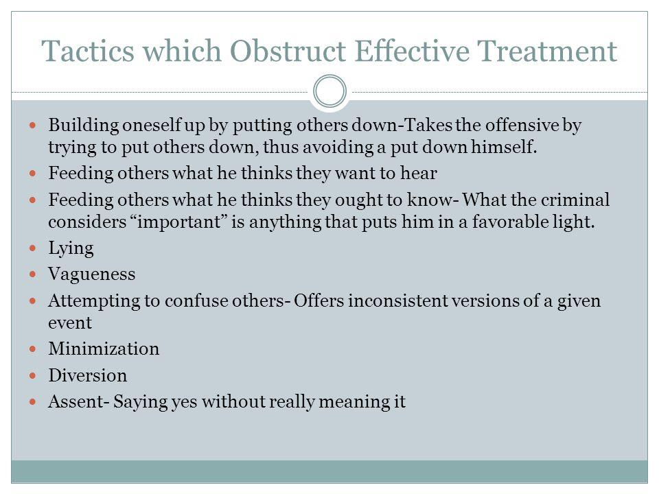 Tactics which Obstruct Effective Treatment