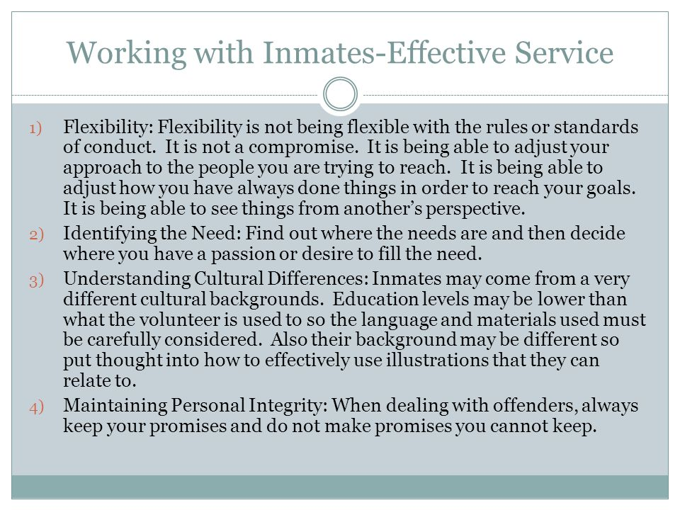 Working with Inmates-Effective Service