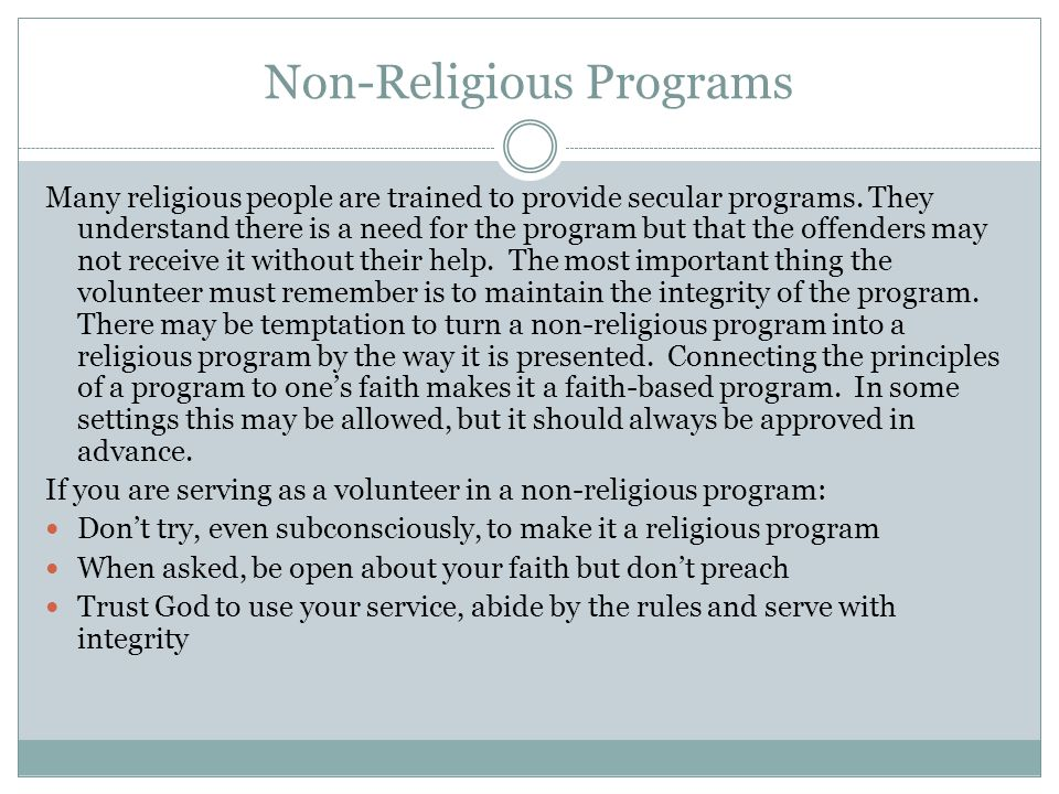 Non-Religious Programs