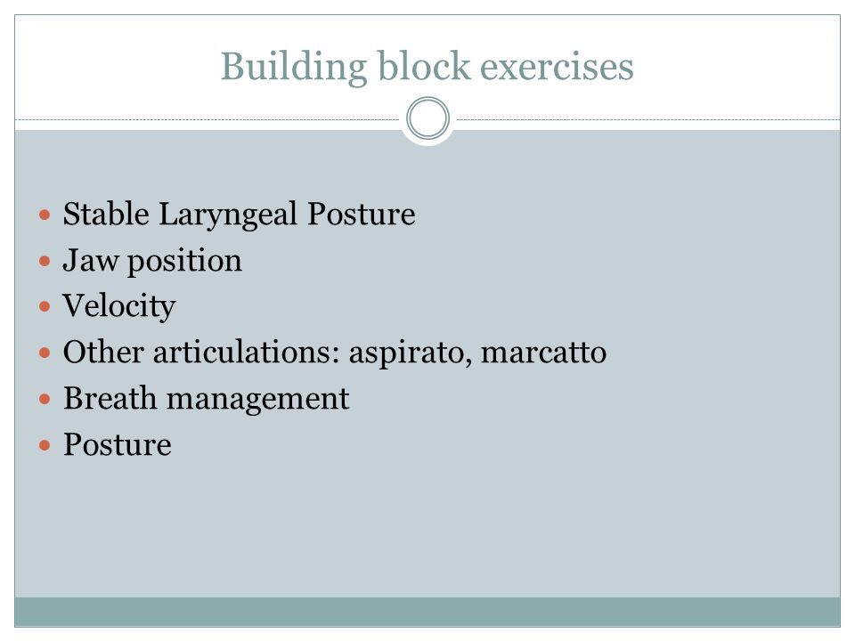 Building block exercises