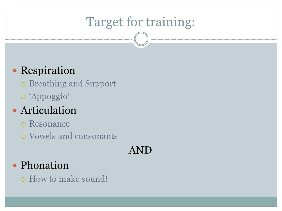 Target for training: Respiration Articulation AND Phonation