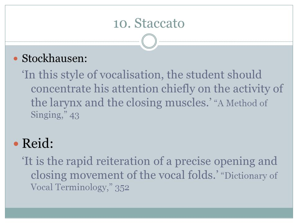 10. Staccato Stockhausen: