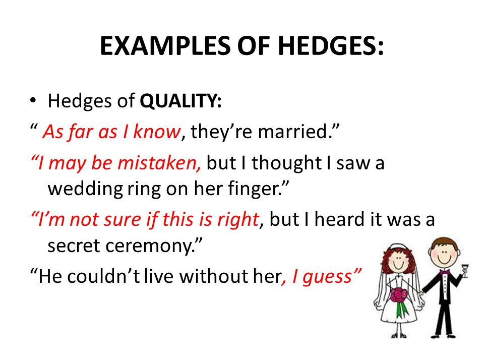 EXAMPLES OF HEDGES: Hedges of QUALITY: