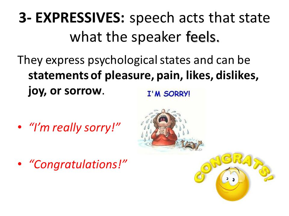 3- EXPRESSIVES: speech acts that state what the speaker feels.