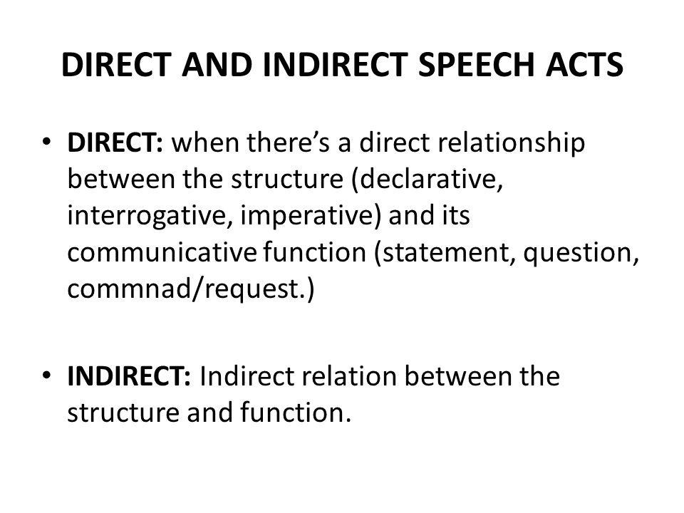 DIRECT AND INDIRECT SPEECH ACTS