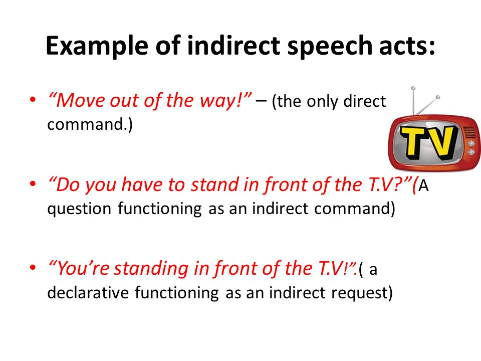 Example of indirect speech acts: