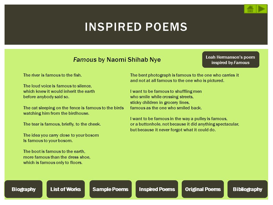 Leah Hermanson's poem inspired by Famous
