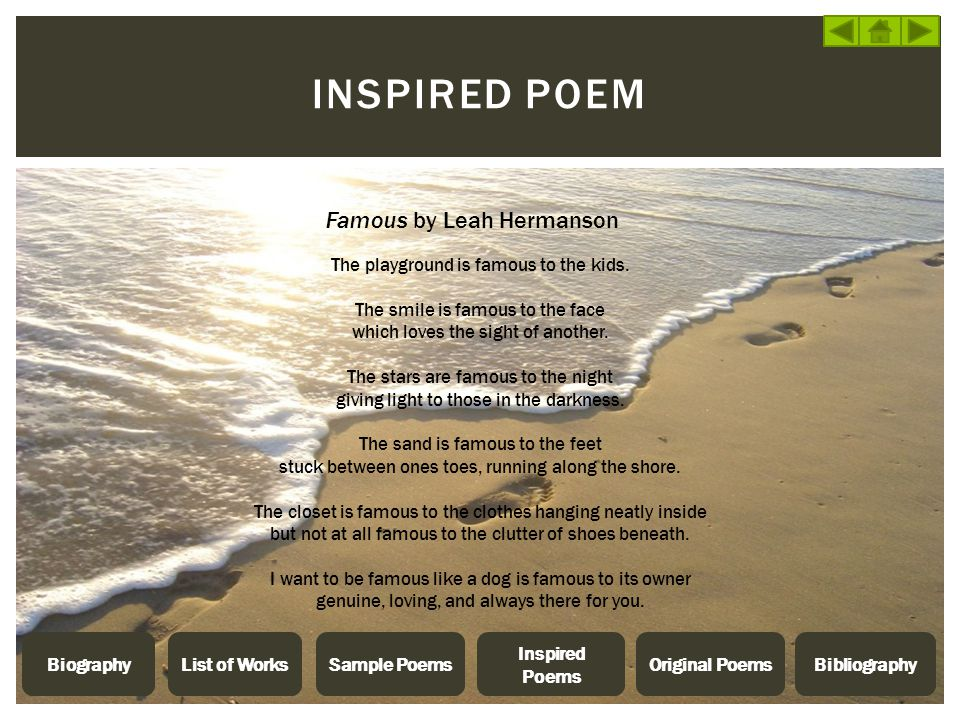 Inspired poem Famous by Leah Hermanson