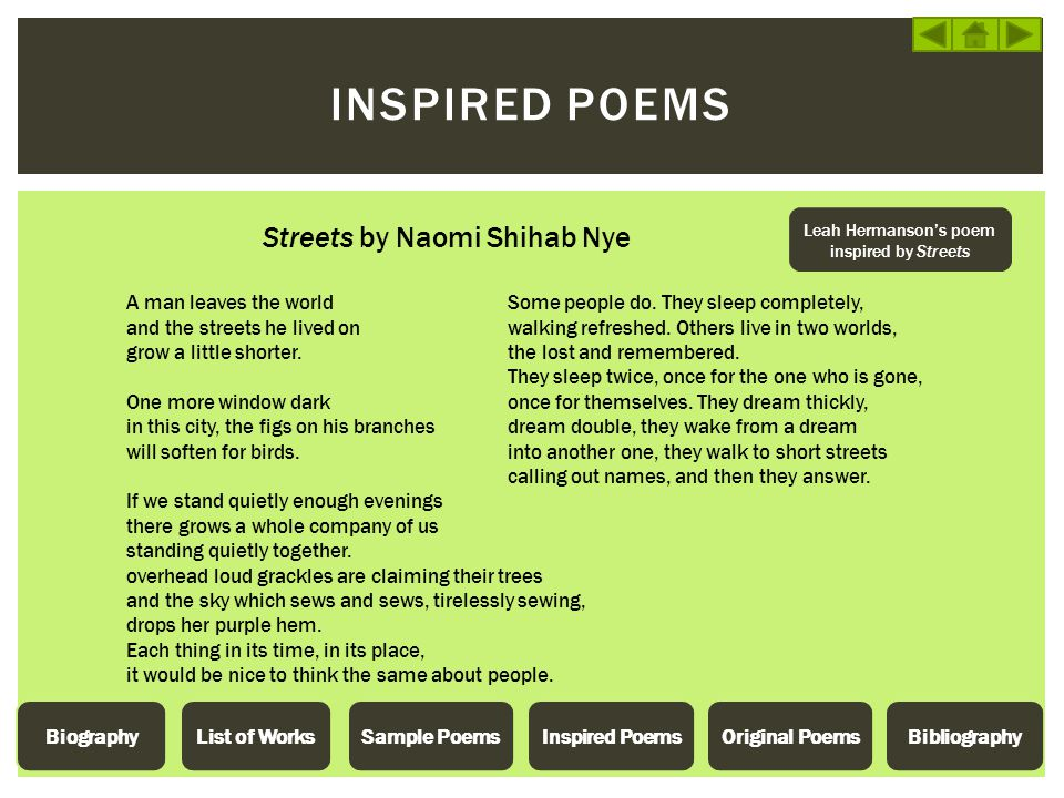 Leah Hermanson's poem inspired by Streets