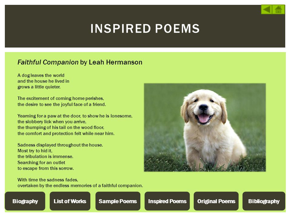 Inspired poems Faithful Companion by Leah Hermanson List of Works