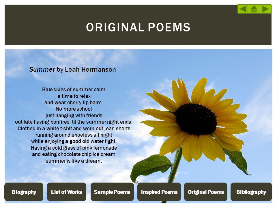 Original poems Summer by Leah Hermanson Blue skies of summer calm