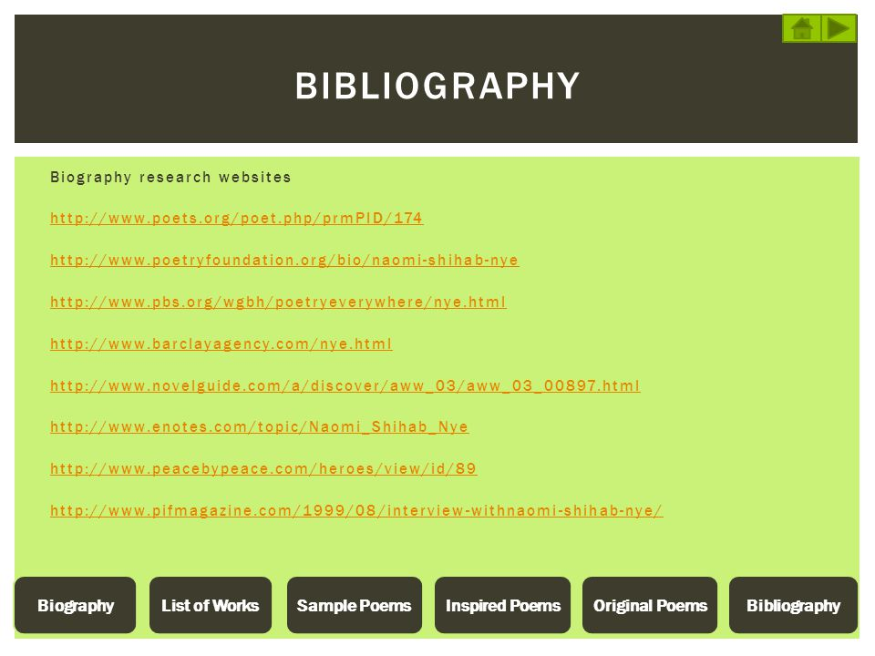 Bibliography List of Works Sample Poems Inspired Poems Original Poems