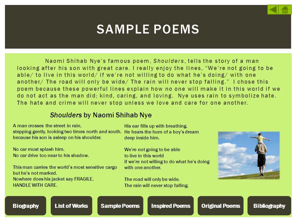 Sample POEMS Shoulders by Naomi Shihab Nye